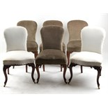 Property of a lady - a set of six Victorian walnut side chairs, with carved cabriole front legs &
