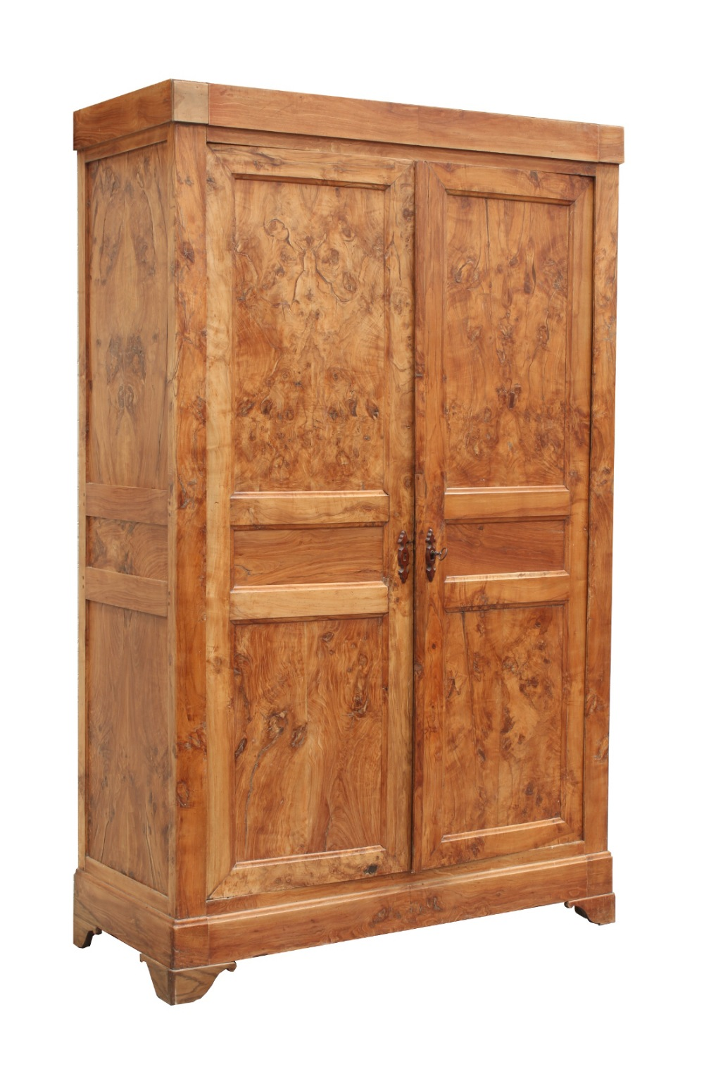 Property of a gentleman - an 18th century French chestnut & burr chestnut armoire, restorations to