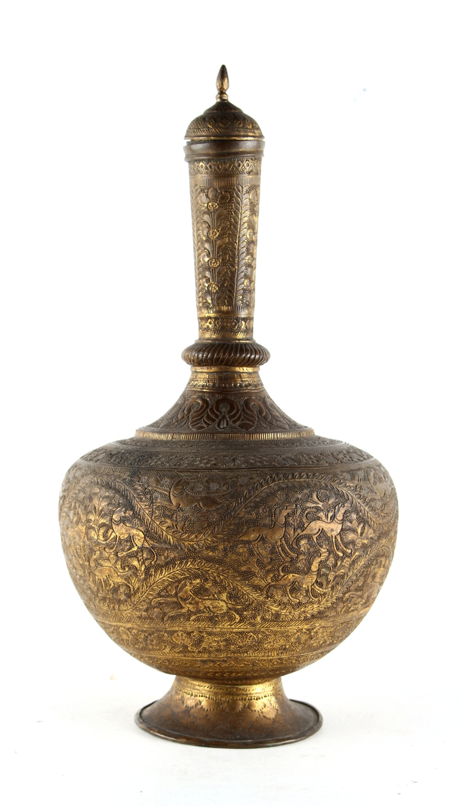 Property of a gentleman - an 18th century Mughal Indian or Deccan gilt brass water bottle & cover,