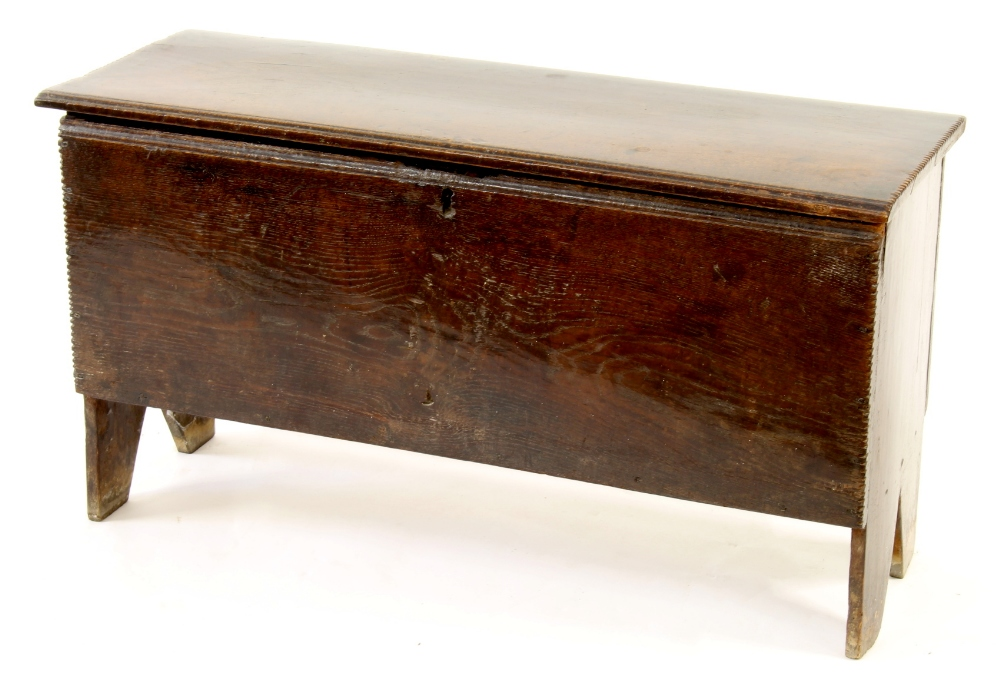 Lot 114 - Property of a deceased estate - a late 17th / early 18th century oak six plank coffer, of good