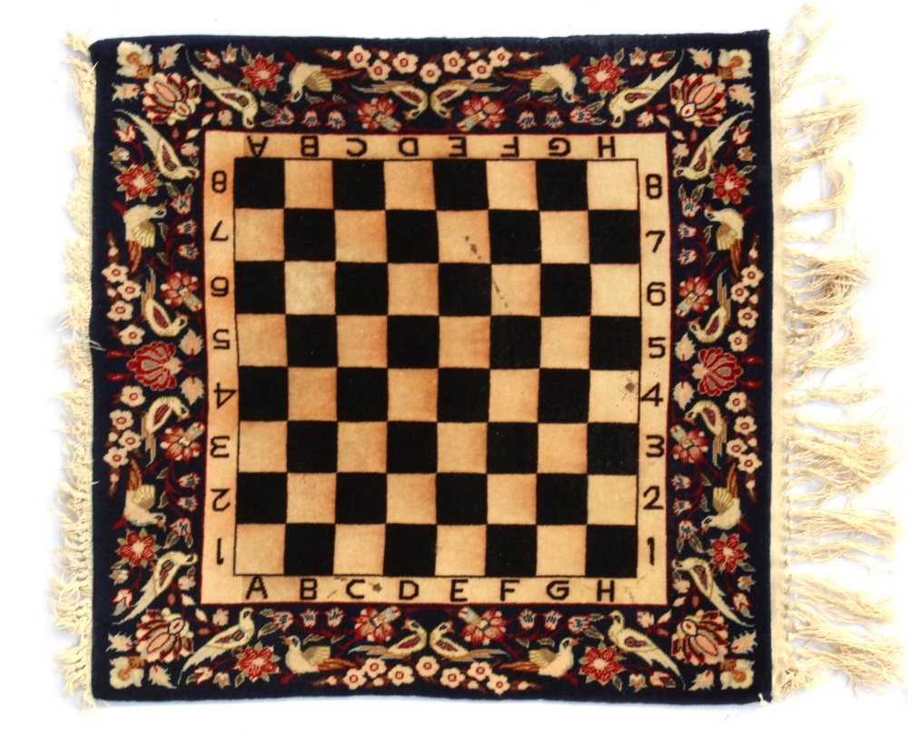 Property of a deceased estate - an early / mid 20th century Kashan chess or games board mat,