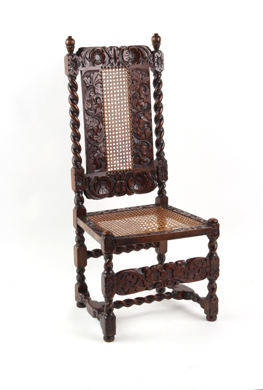 Property of a lady - a late 17th century carved walnut & cane panelled high back chair, restorations