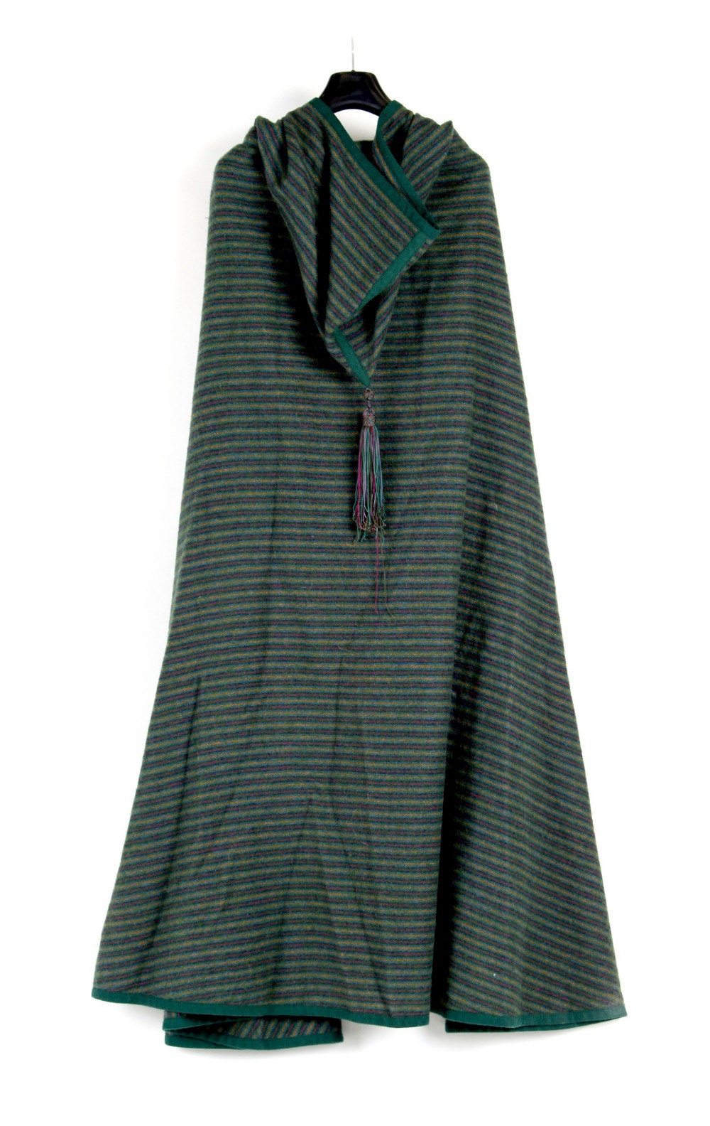 Property of a deceased estate - an Yves Saint Laurent Rive Gauche hooded cape, wool, green, blue,