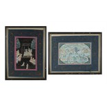 Property of a deceased estate - two Ottoman gouache paintings on linen, in matching ebonised frames,