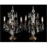 Property of a lady - a pair of brass & cut glass lustre four-light table lamps, each approximately