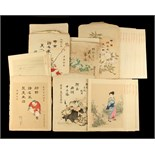 Property of a gentleman - five sets of Japanese woodblock prints, circa 1900, unframed, in