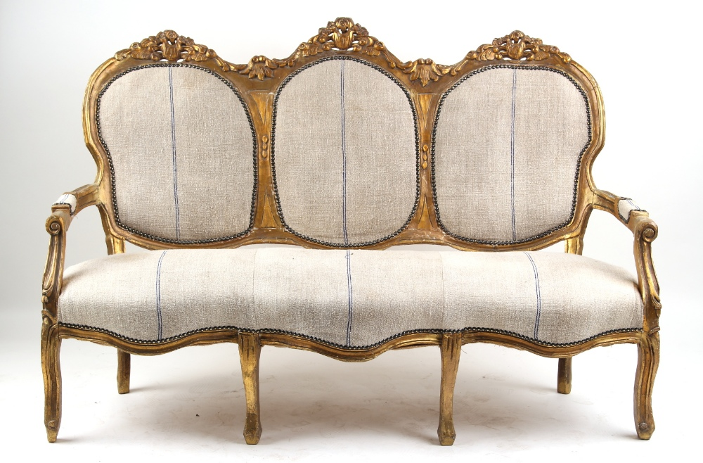 Property of a gentleman - a French Louis XV style gilt painted triple chair back canape, 65ins. (