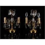 Property of a lady - a pair of ormolu & cut glass lustre twin light table lamps, each