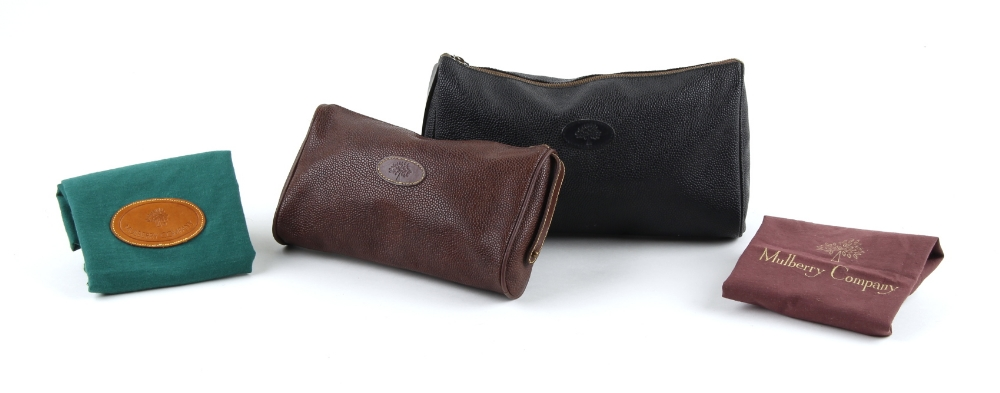 Property of a deceased estate - two Mulberry green Scotchgrain leather wash bags or make-up bags,