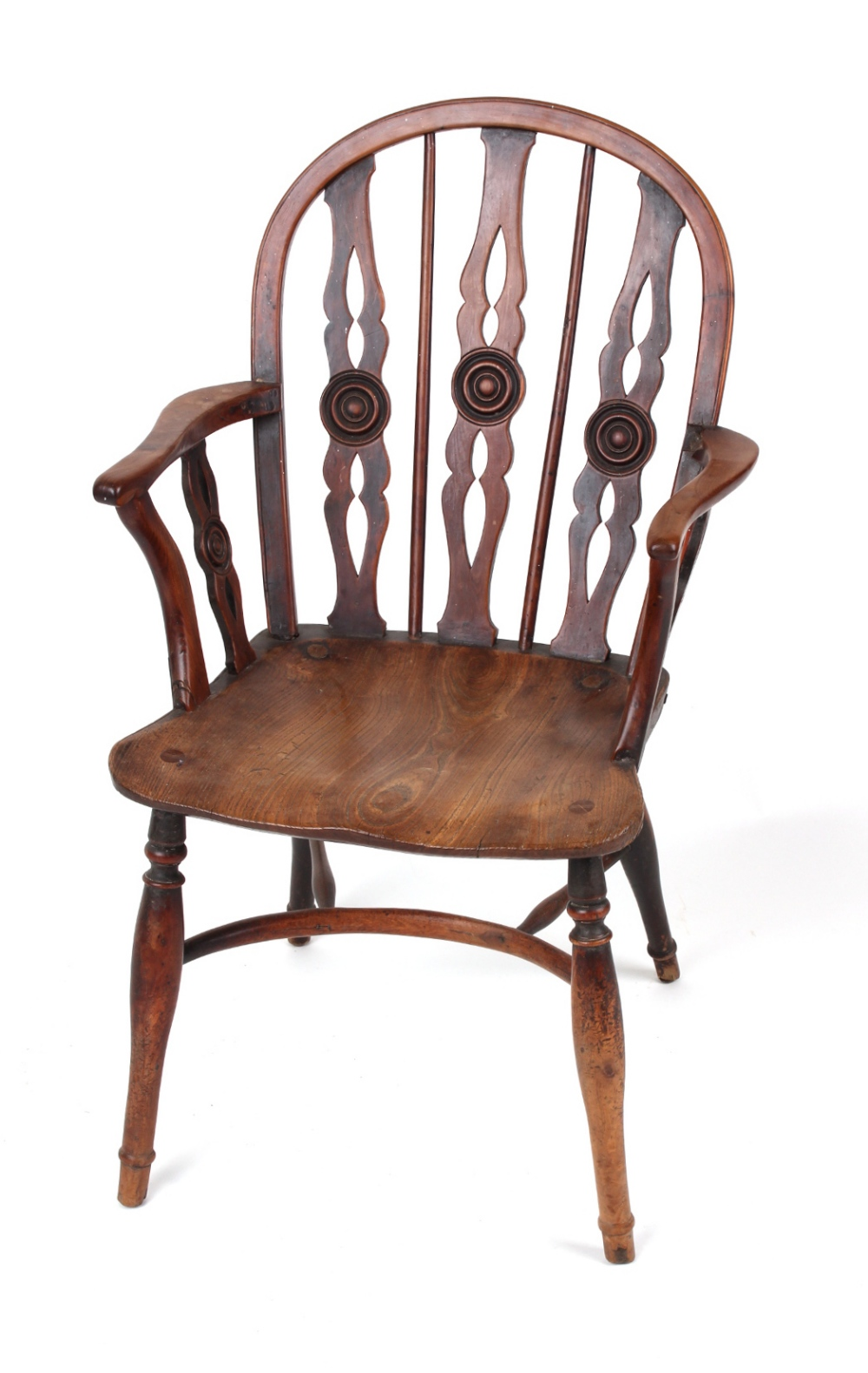 Property of a gentleman - an early 19th century yew wood Windsor elbow chair, of good colour,