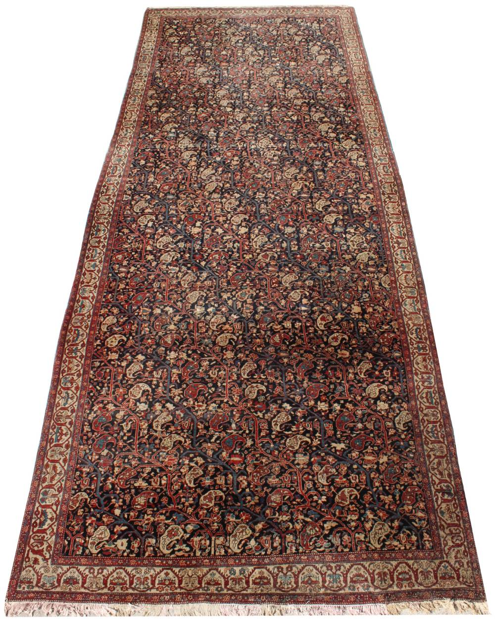 Property of a lady - a large antique Persian Fereghan carpet, late 19th century, with navy field,