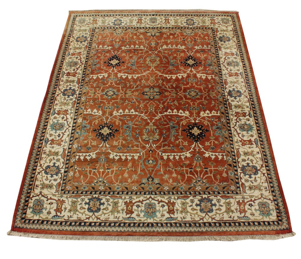 Property of a lady - a modern Turkish Mahal woollen hand made carpet, with ivory ground, 142 by