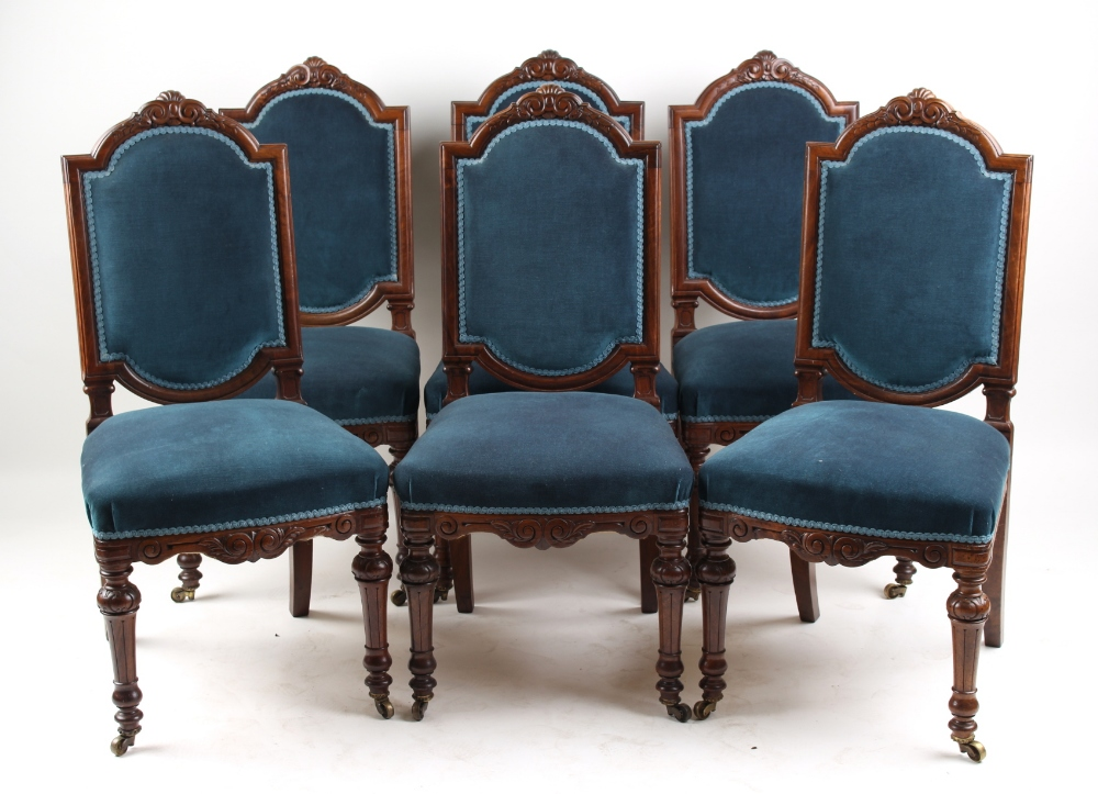 Property of a lady - a set of six late Victorian walnut side chairs, attributed to Gillows, with