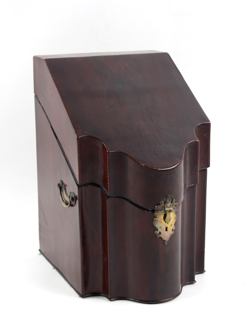 Property of a lady - an 18th century George III mahogany & chequer strung knife box, the interior