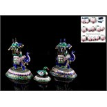 Property of a deceased estate - a pair of Indian silver & polychrome enamel models of caparisoned