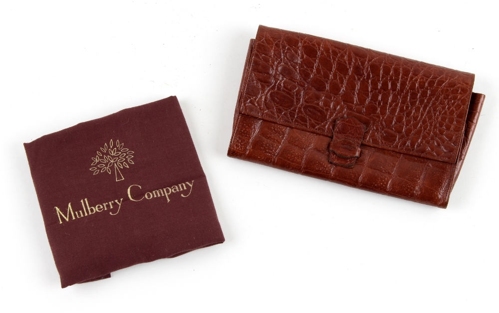 Property of a deceased estate - a Mulberry brown crocodile clutch bag or travel document bag, with