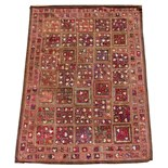 Property of a deceased estate - an Indian Kashmiri chain stitch patchwork wall hanging, 19th century