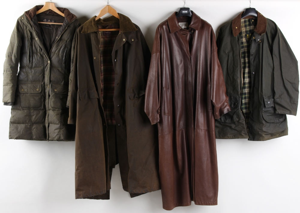 Property of a deceased estate - a Maxfield Parrish dark brown leather full length trench coat;