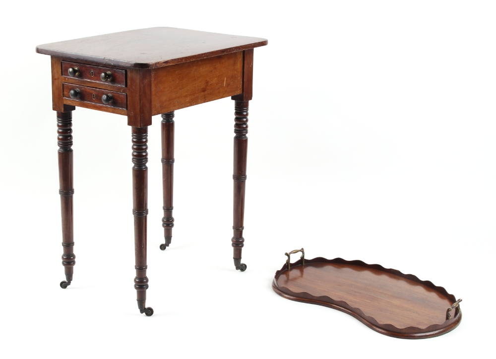 Property of a lady - an early 19th century George IV mahogany work table, with two end drawers, on