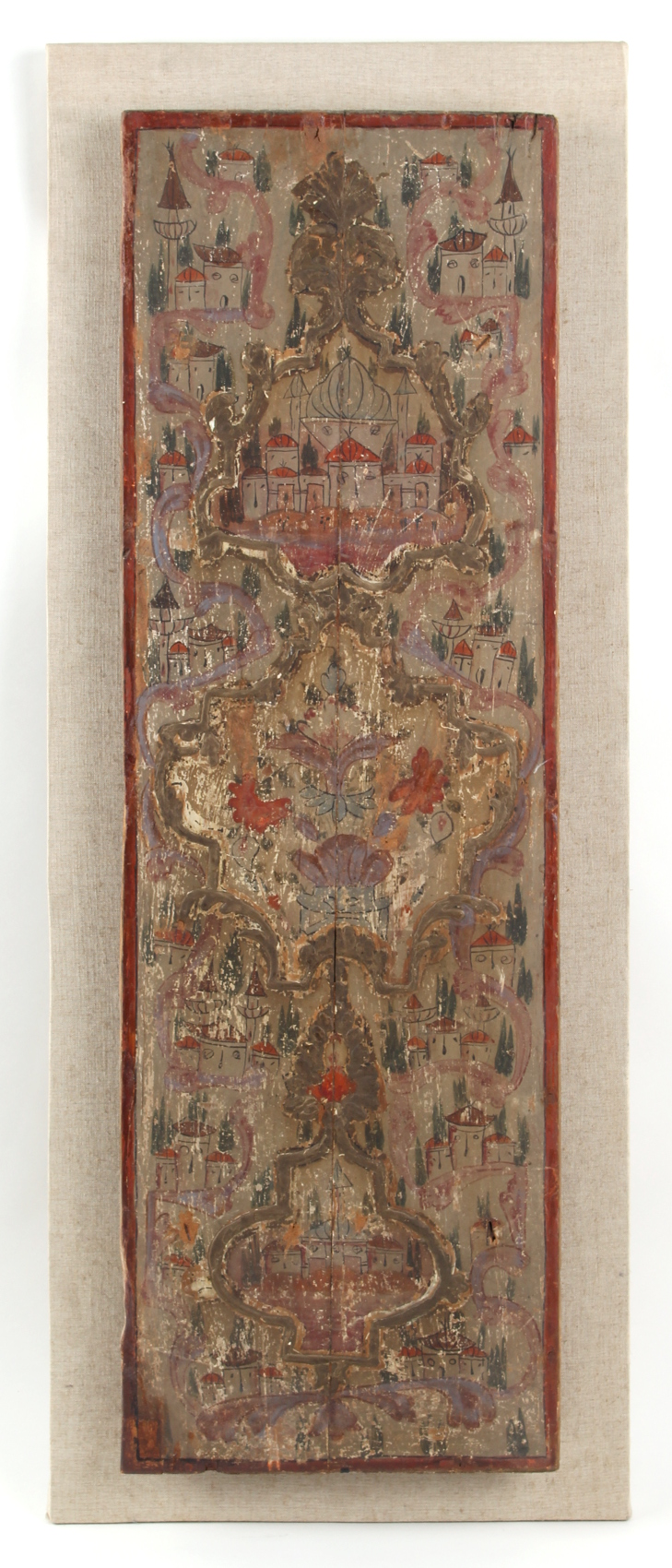 Property of a gentleman - a North African painted wood panel, probably 19th century, painted with
