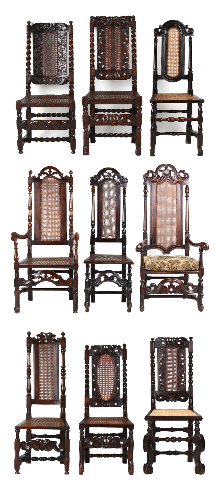 Property of a lady - a harlequin set of nine late 17th century carved walnut & cane panelled high-