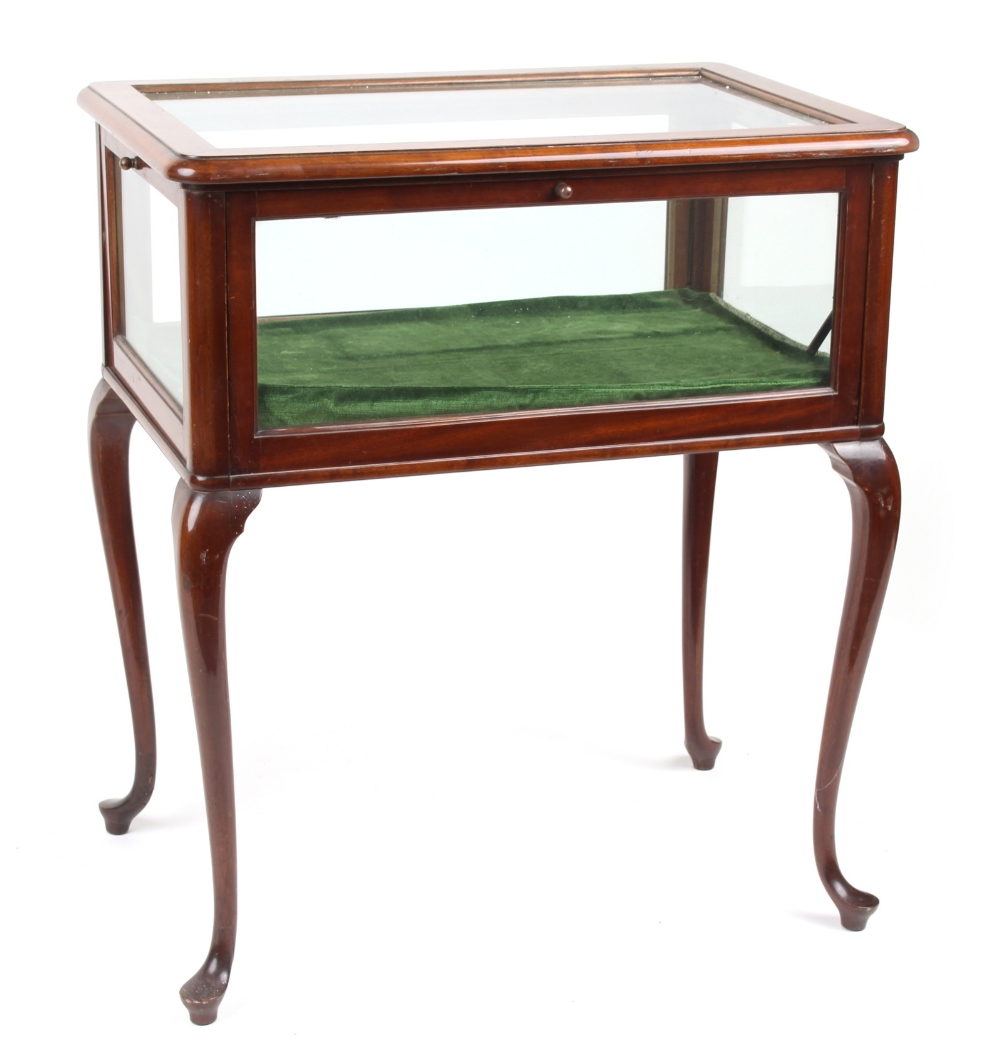 Lot 150 - Property of a lady - an early 20th century mahogany bijouterie table, with four glazed drop-down