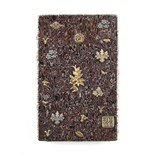 A good quality Japanese marbled silver visiting card case, Meiji period (1868-1912), with applied