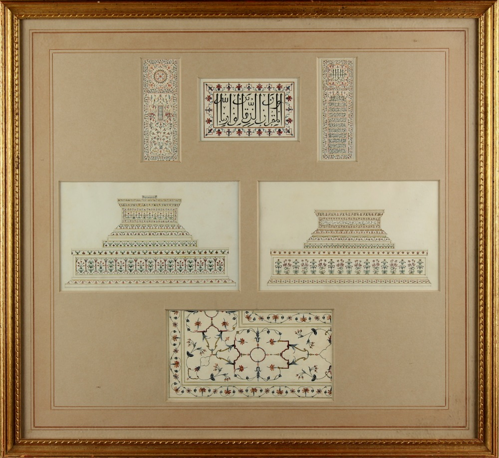 Property of a deceased estate - a group of six Indian watercolour vignettes, mounted in a single