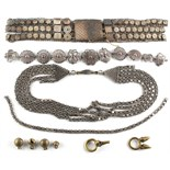 Property of a lady - a Middle Eastern white metal filigree belt; together with a similar necklace;