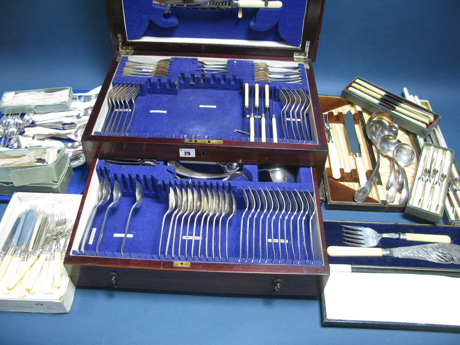 Lot 29 - A Large Mixed Lot of Assorted Plated Cutlery, including part fitted canteen case, with lift up lid