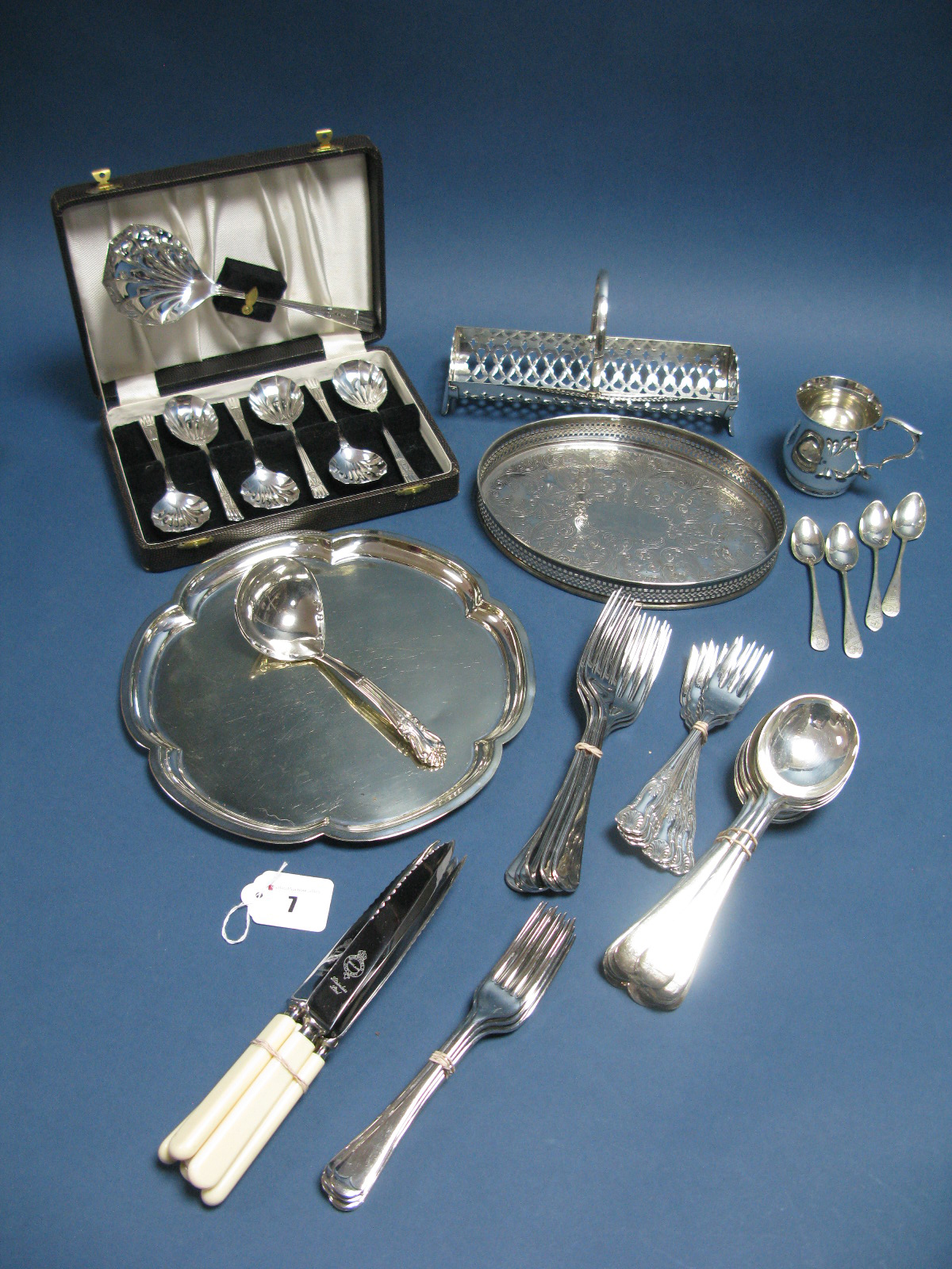 Lot 7 - Cased and Loose Plated Cutlery, small oval galleried tray, christening type mug, etc:- One Tray