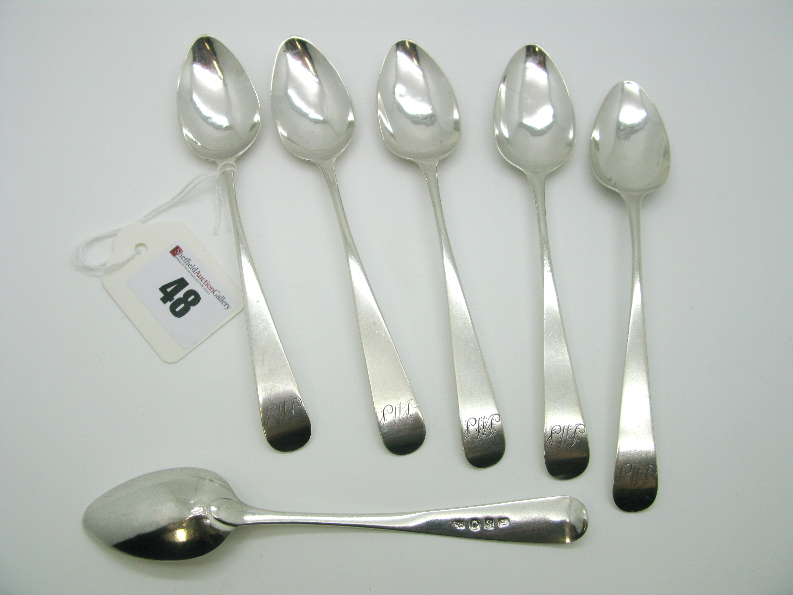 Lot 48 - A Set of Six Provincial Scottish Hallmarked Silver Teaspoons, possibly Ewan Wilson, Perth,