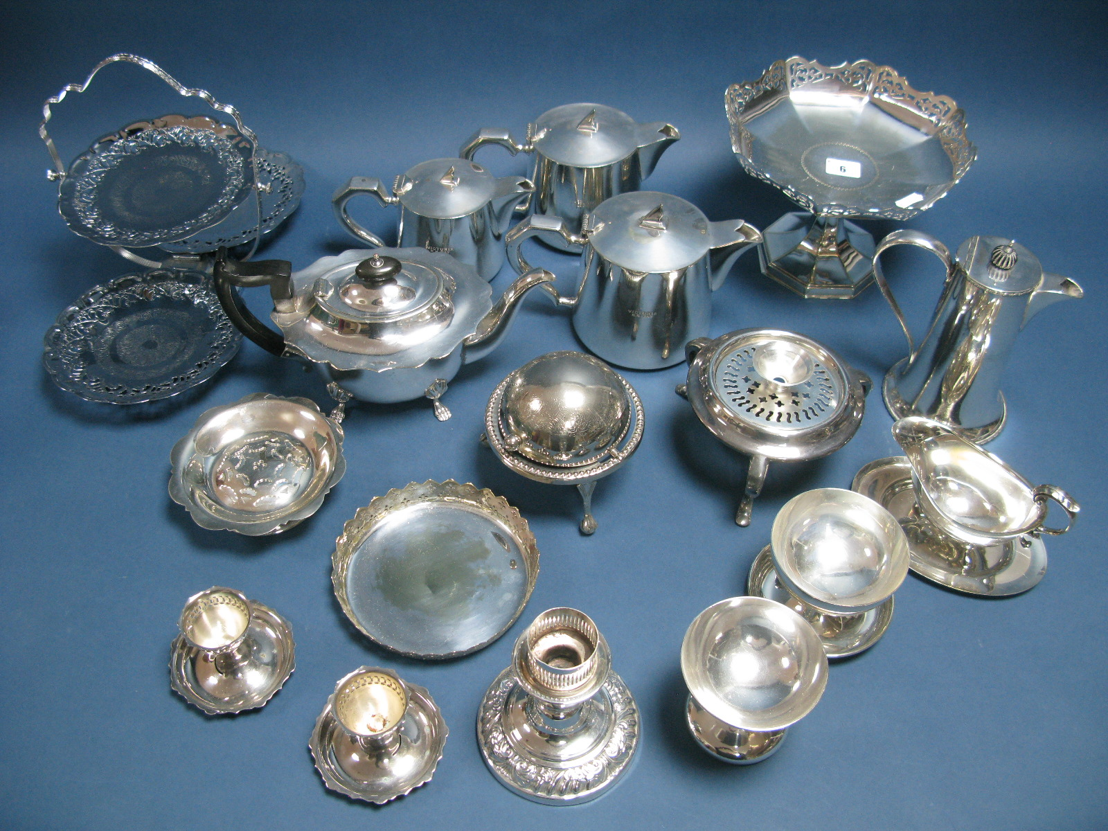 Lot 6 - A Mixed lot of Assorted Plated Ware, including decorative folding cake stand, tea wares, pedestal