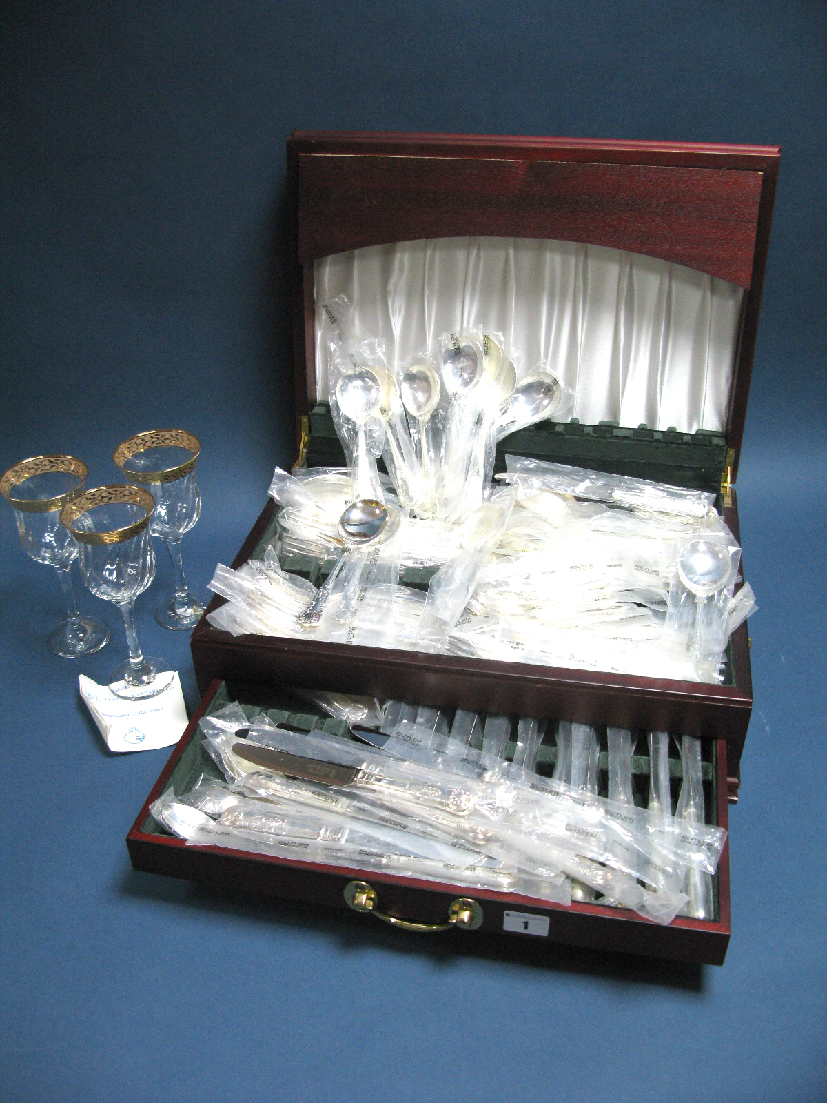 Lot 1 - A Butler of Sheffield Plated Kings Pattern Canteen of Cutlery, contained in a modern fitted case;