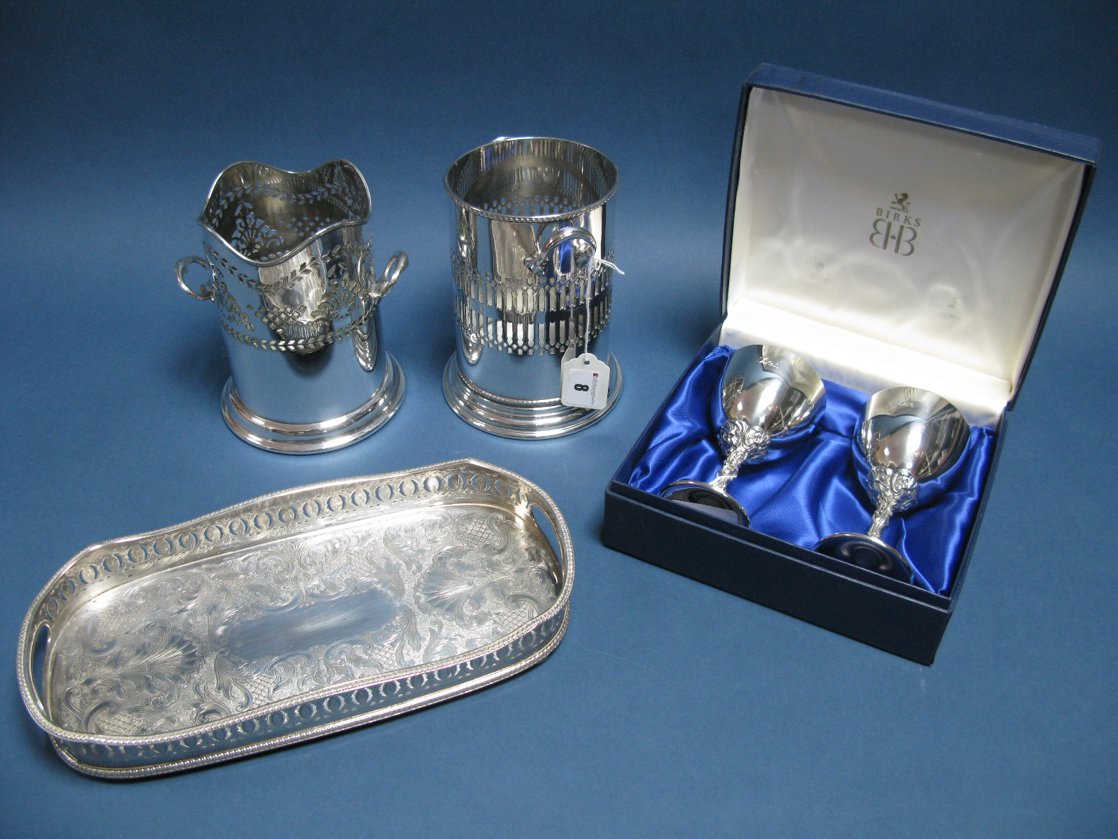 Lot 8 - Two Electroplated Bottle Holders, both of cylindrical pierced design with side handles; together