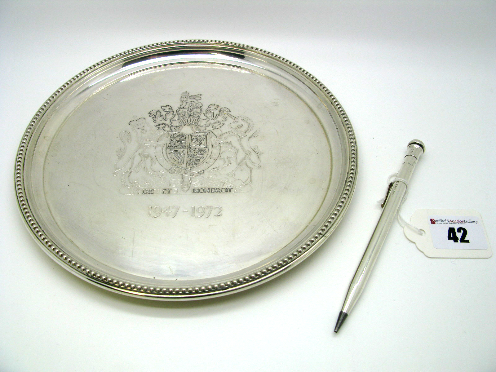 "Lot 42 - A Limited Edition Hallmarked Silver Commemorative Card Tray, H.H, Birmingham 1971, ""1947-1972"","