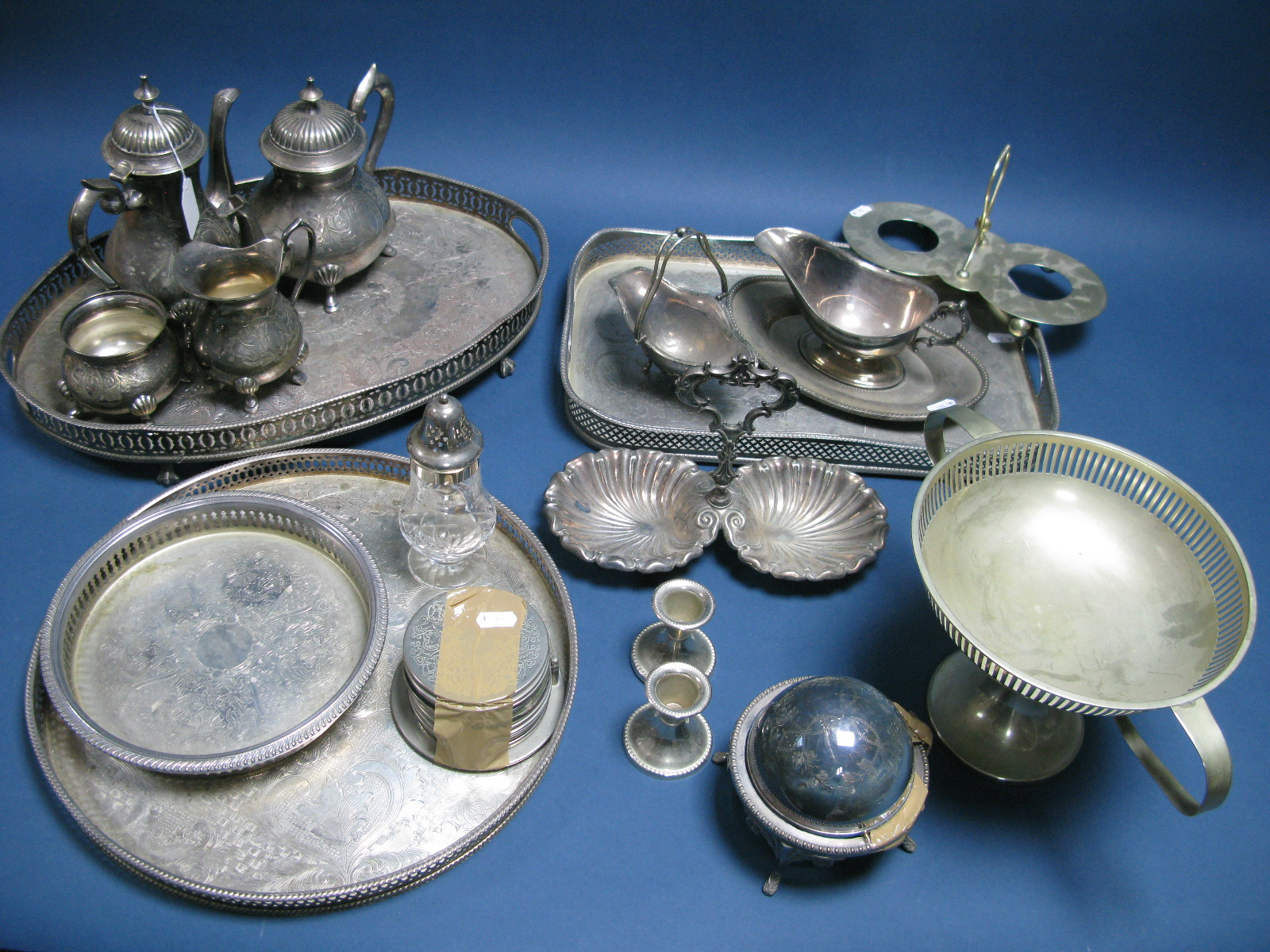 Lot 2 - A Mixed Lot of Assorted Plated Ware, including decorative four piece tea set, circular, oval and