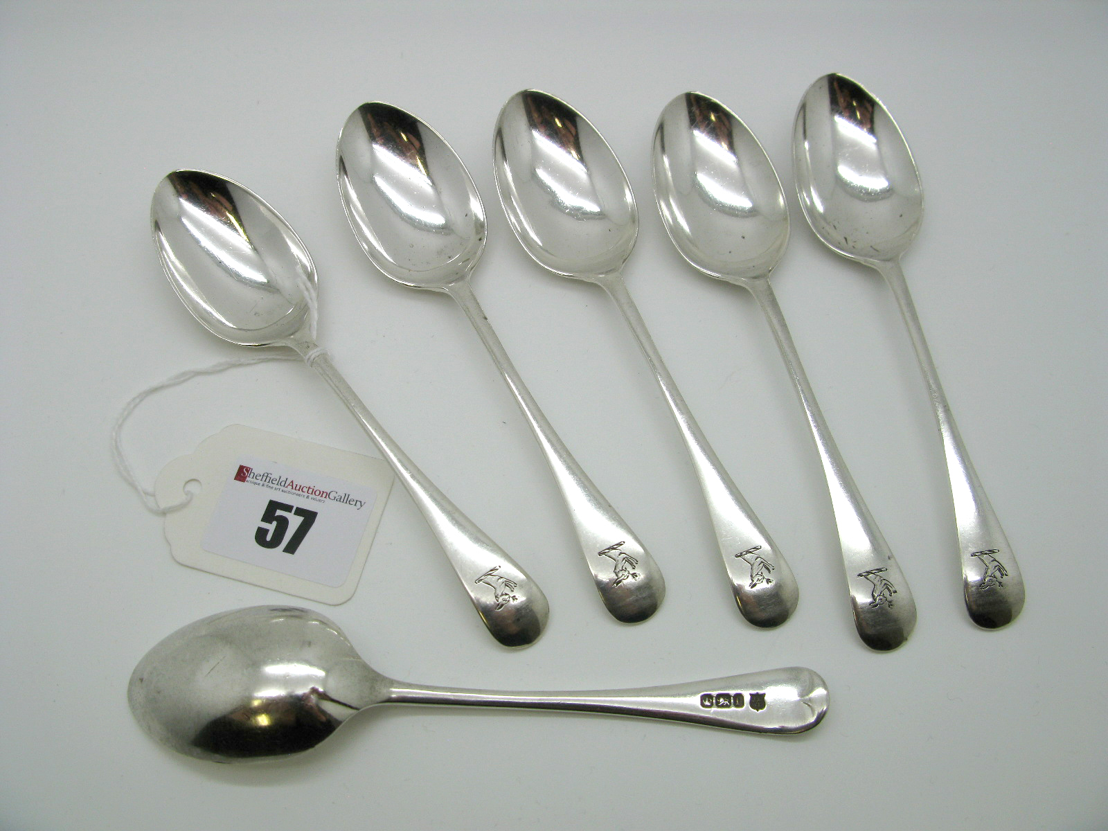 Lot 57 - A Set of Six Hallmarked Silver Old English Pattern Teaspoons, James Deakin, Sheffield 1897, crested.