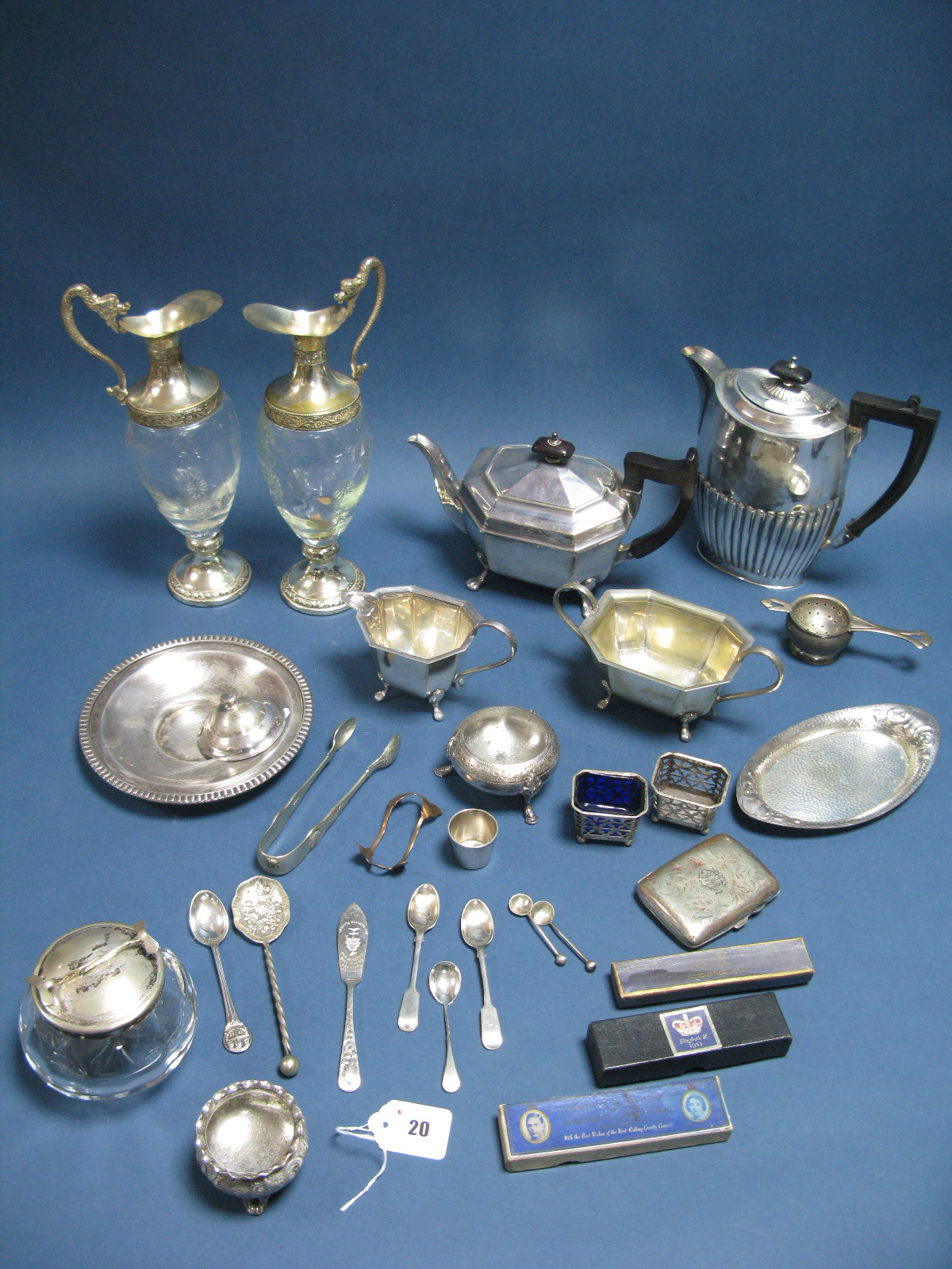 Lot 20 - Assorted Plated Ware, including three piece tea set, sugar pot, pair of ewers, salts, sugar tongs,