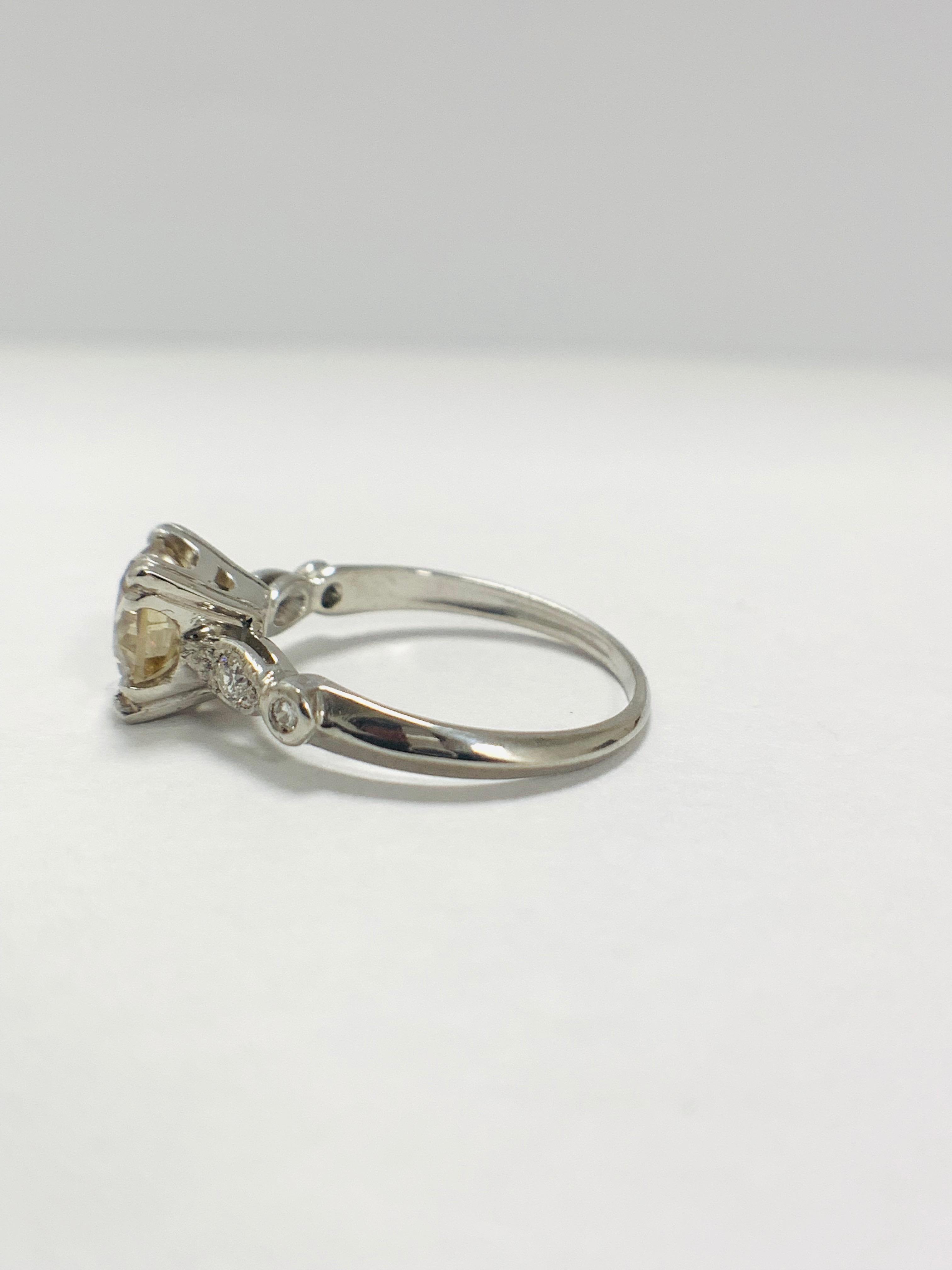 Platinum Diamond ring featuring centre, round brilliant cut, fancy light brown Diamond (1.55ct) - Image 3 of 14