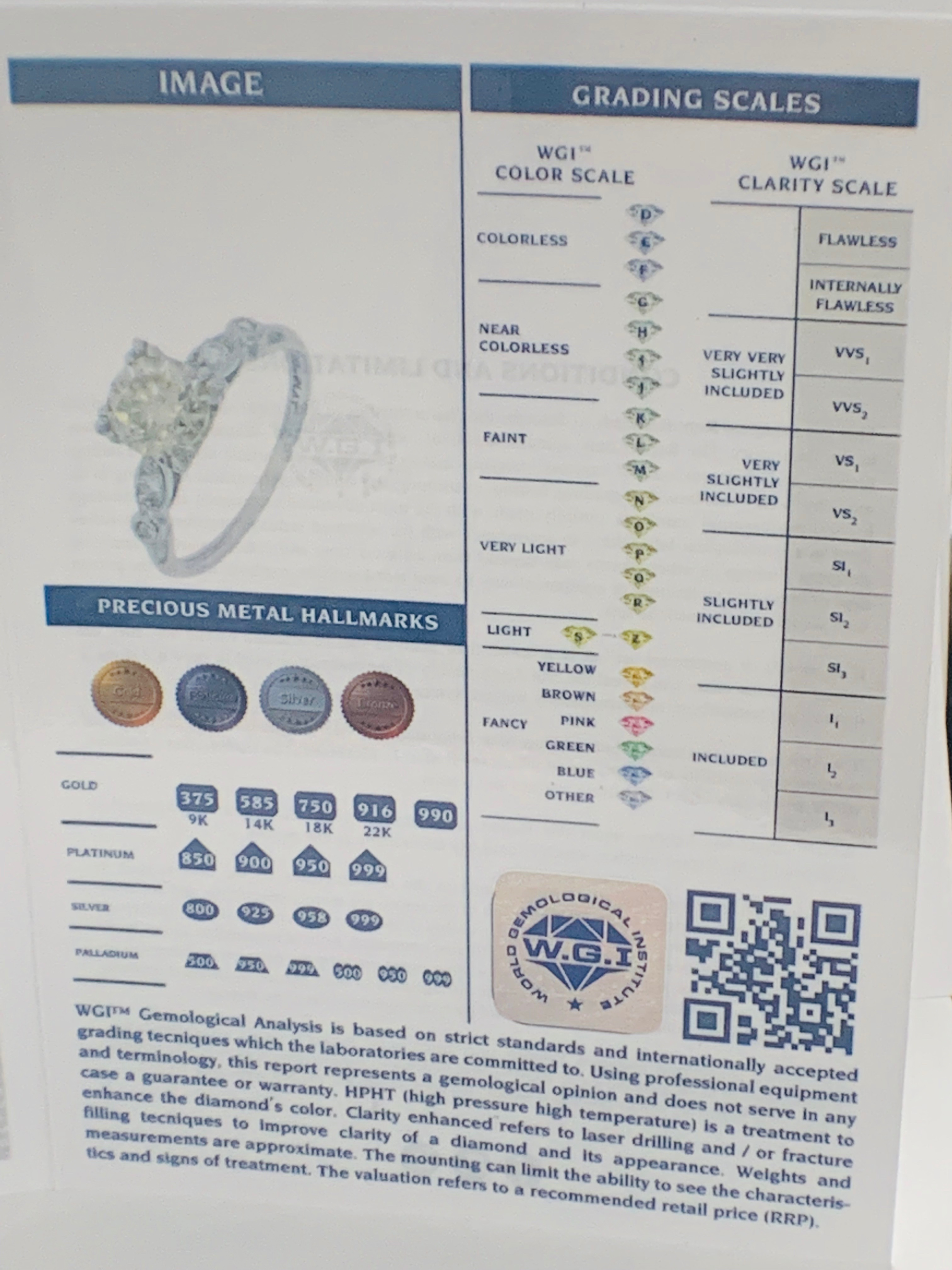 Platinum Diamond ring featuring centre, round brilliant cut, fancy light brown Diamond (1.55ct) - Image 14 of 14