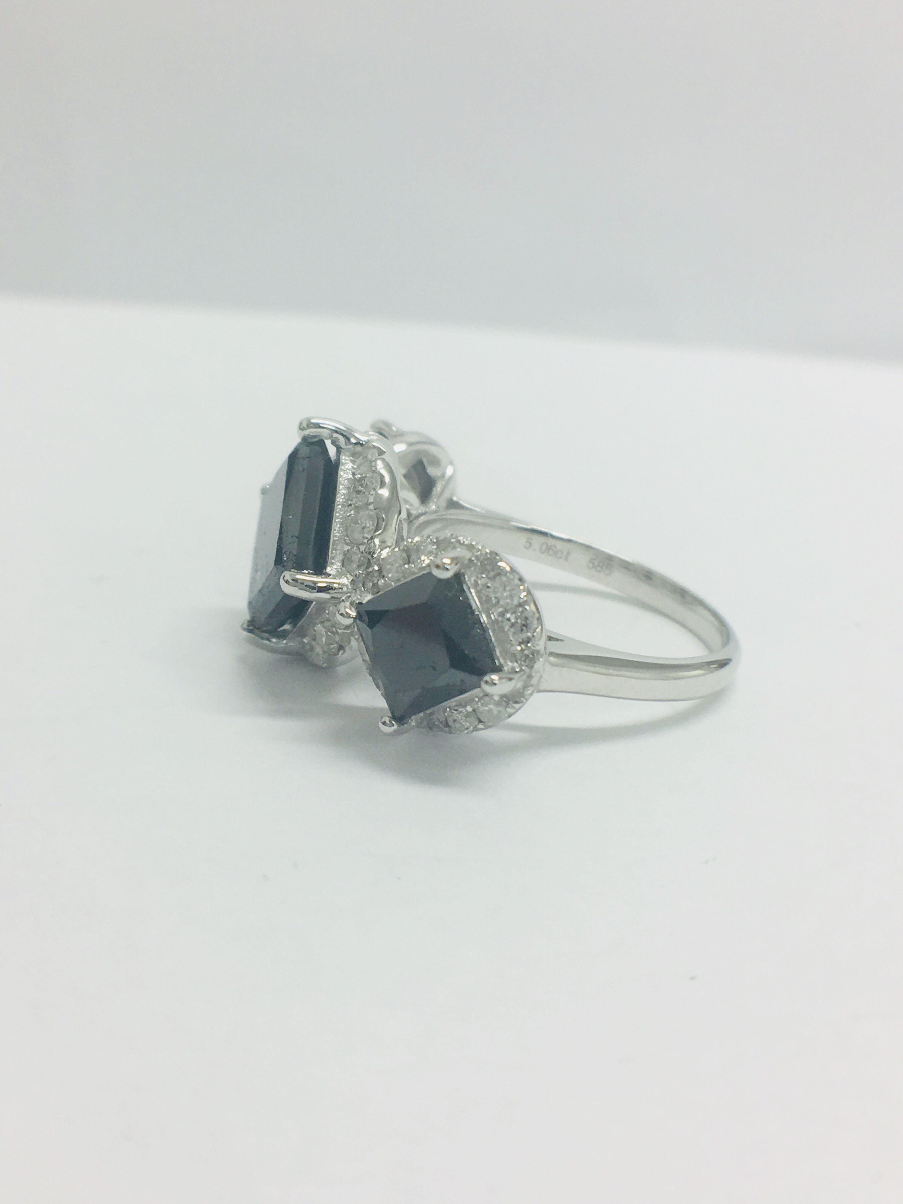 Lot 19 - 14ct White Gold Black Diamond Trilogy Ring