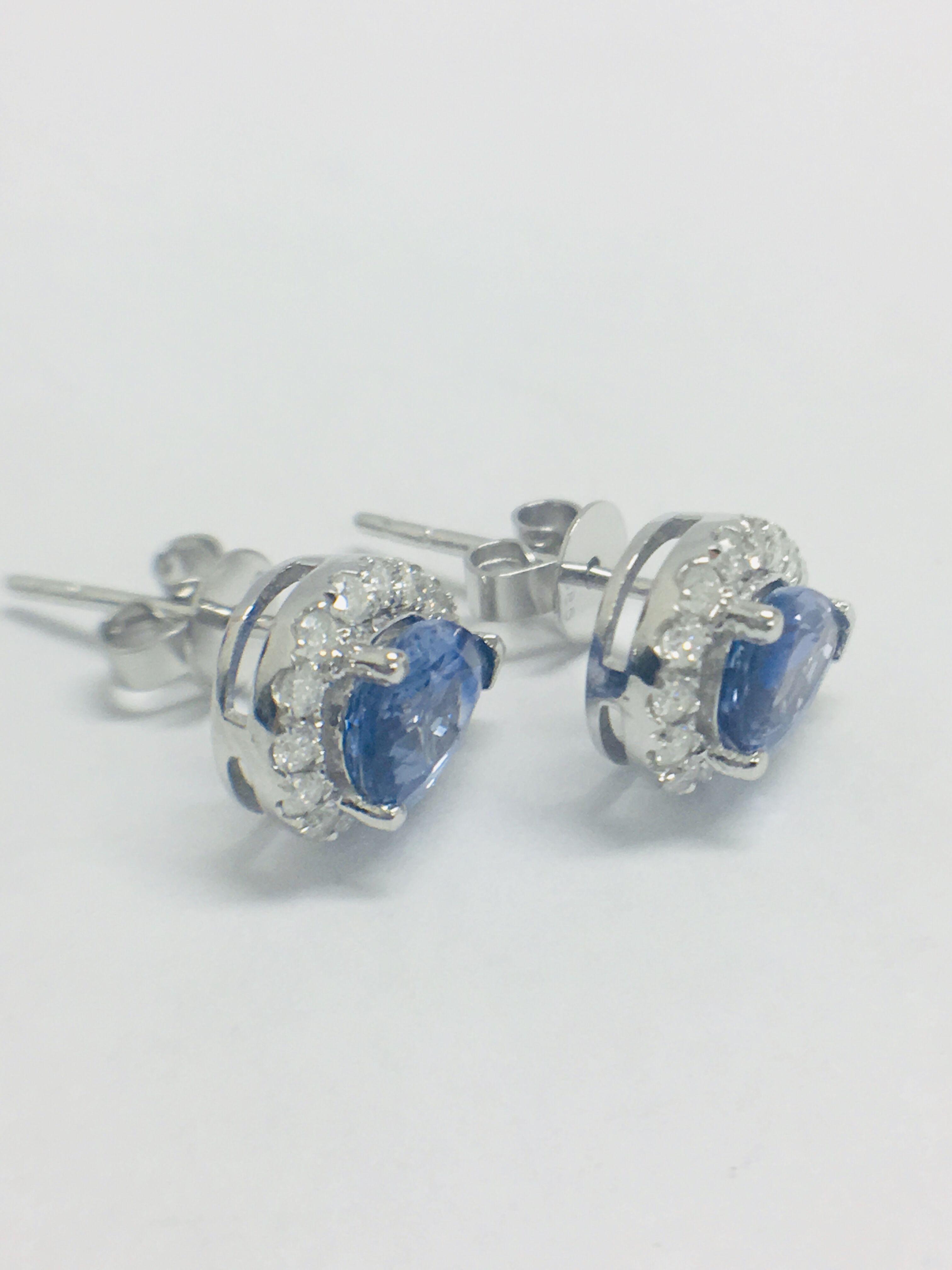 Lot 38 - 14ct White Gold Sapphire & Diamond Earrings.