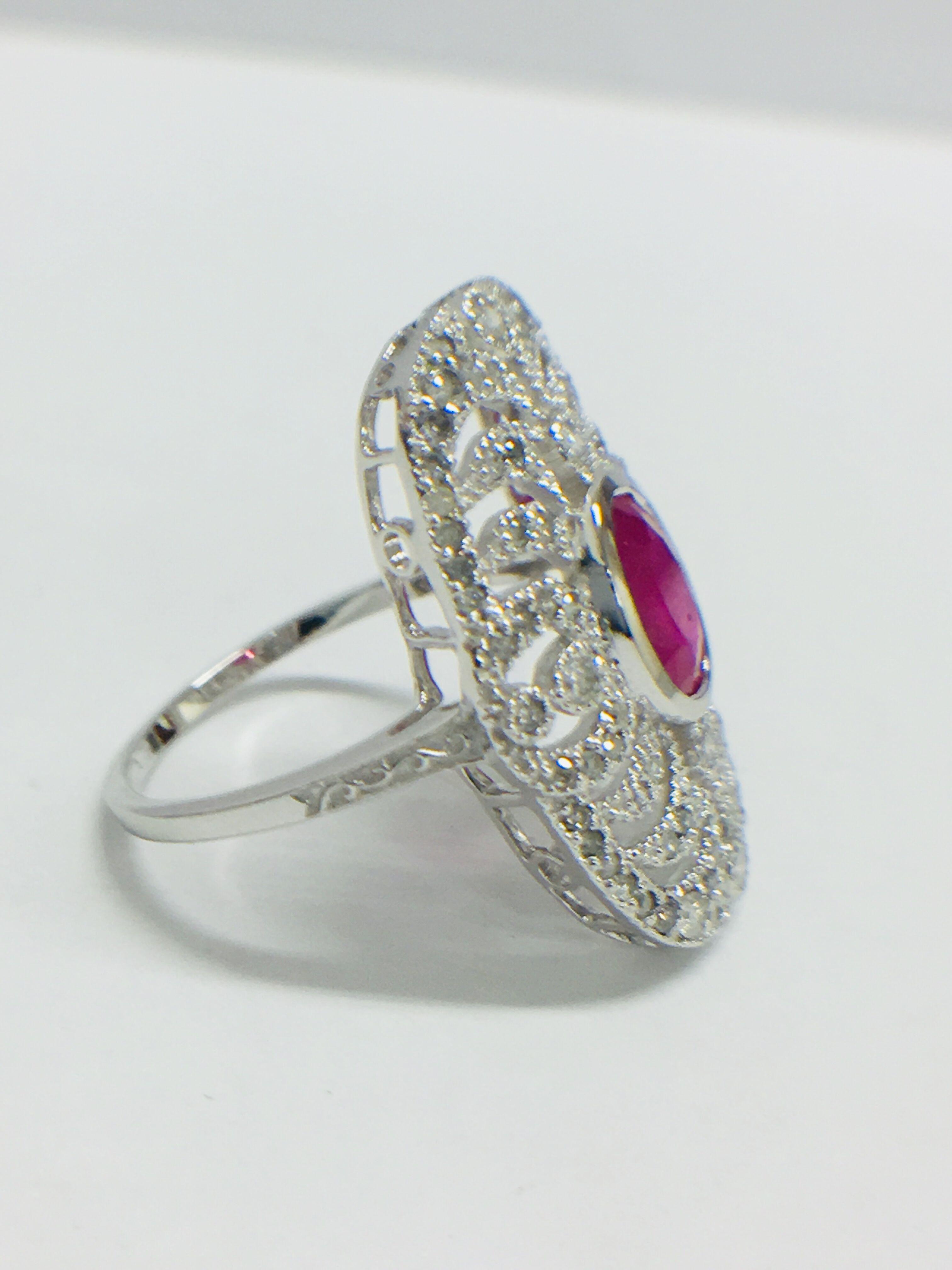 Lot 15 - 18ct White Gold Ruby & Diamond Ring.