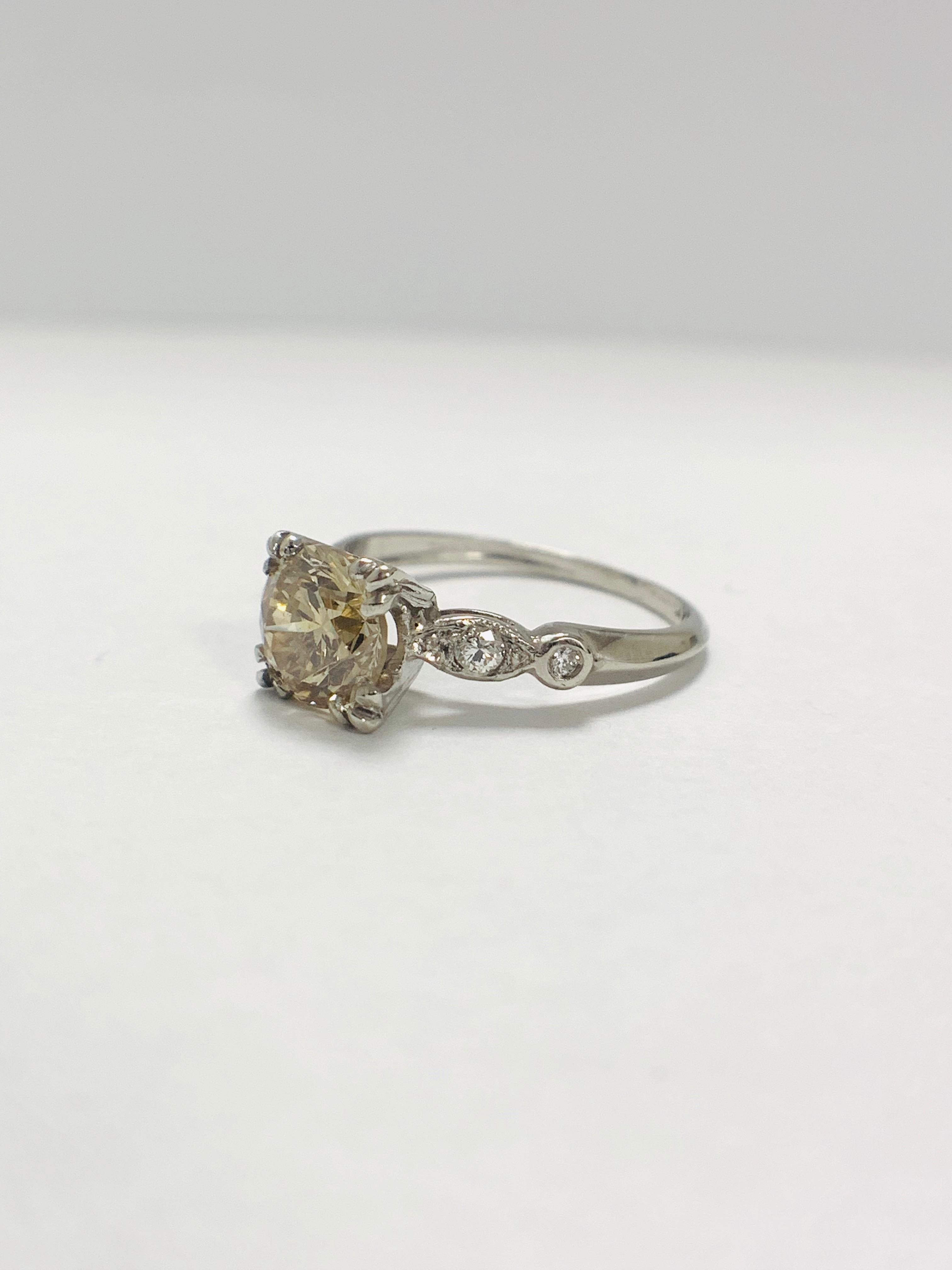 Platinum Diamond ring featuring centre, round brilliant cut, fancy light brown Diamond (1.55ct) - Image 2 of 14