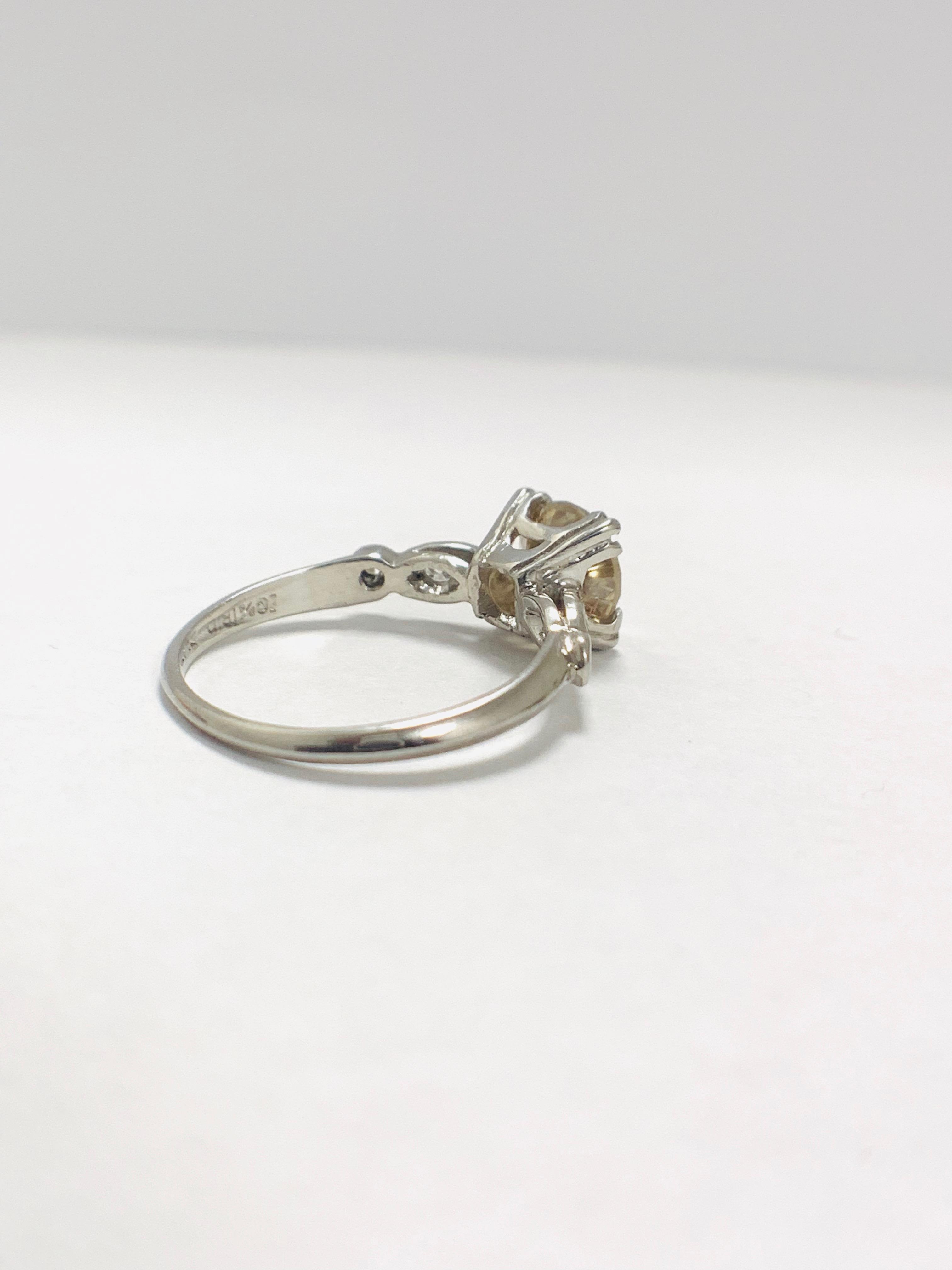 Platinum Diamond ring featuring centre, round brilliant cut, fancy light brown Diamond (1.55ct) - Image 5 of 14