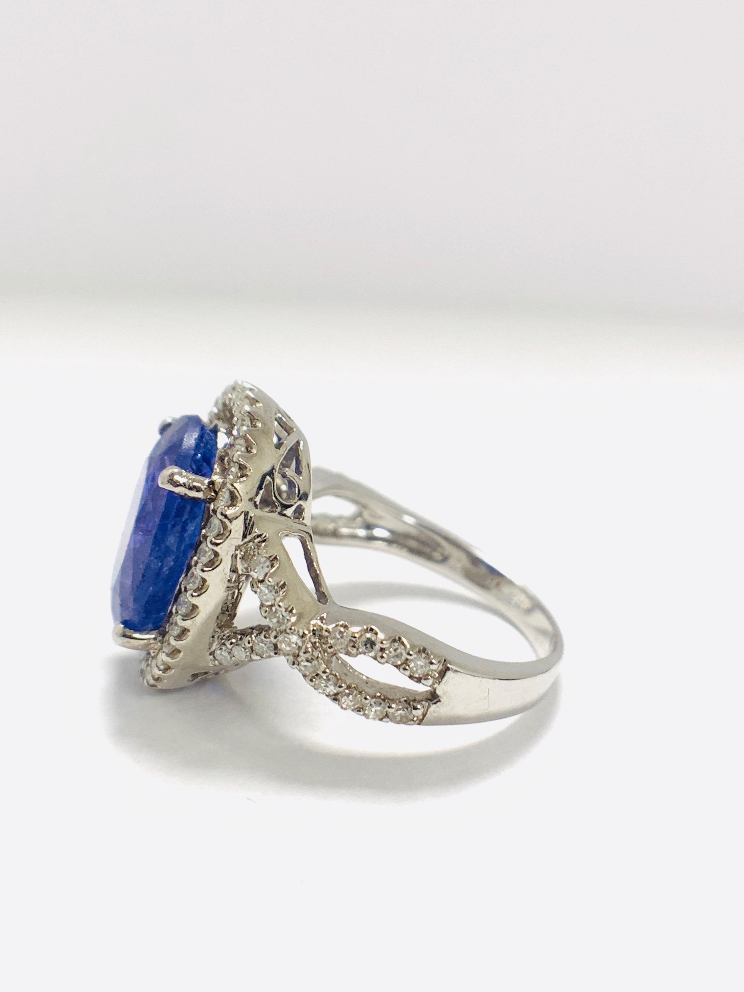 Lot 46 - 18ct White Gold Tanzanite and Diamond Ring
