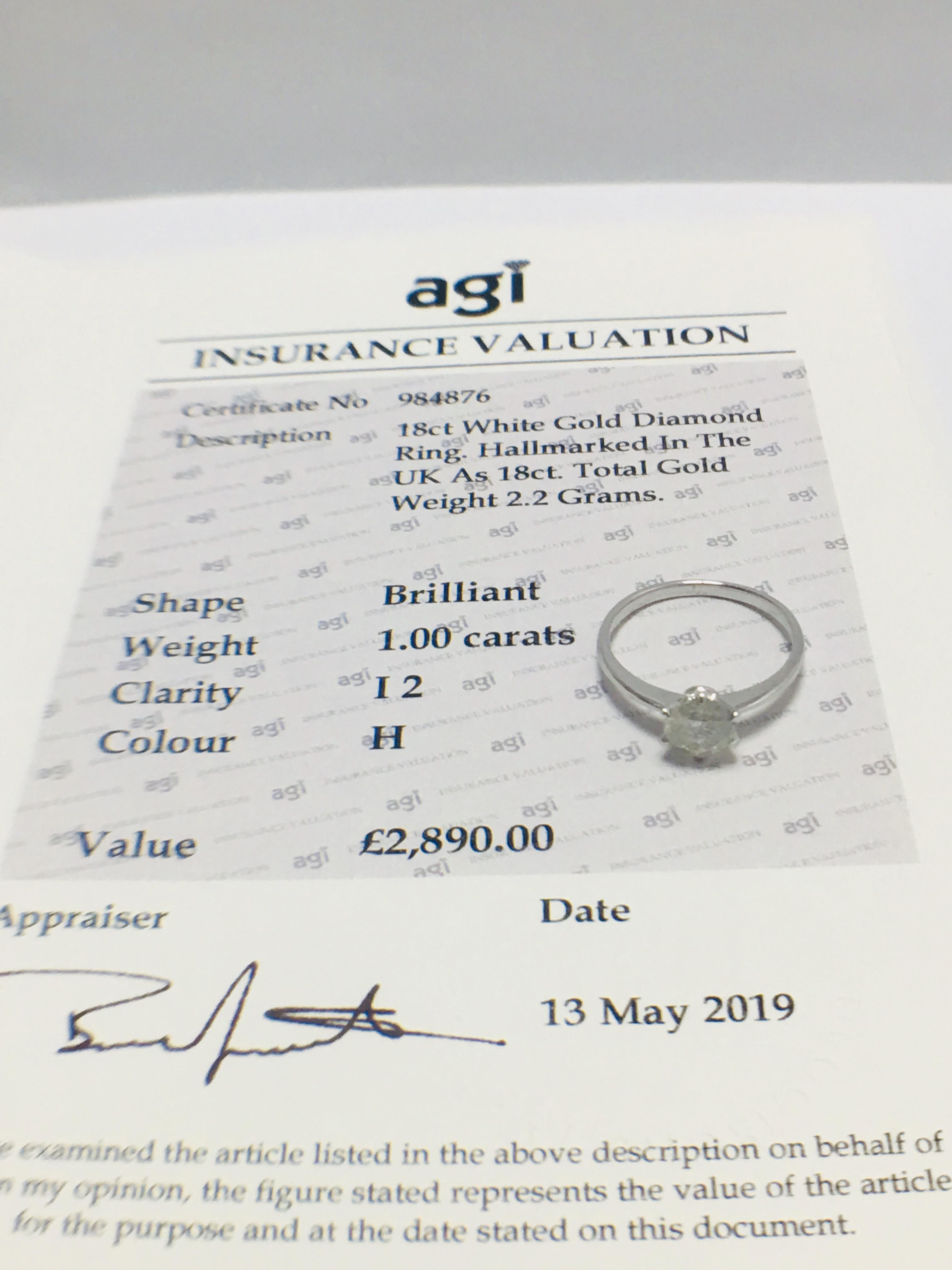 Lot 14 - 1ct Platinum Diamond Solitaire Ring