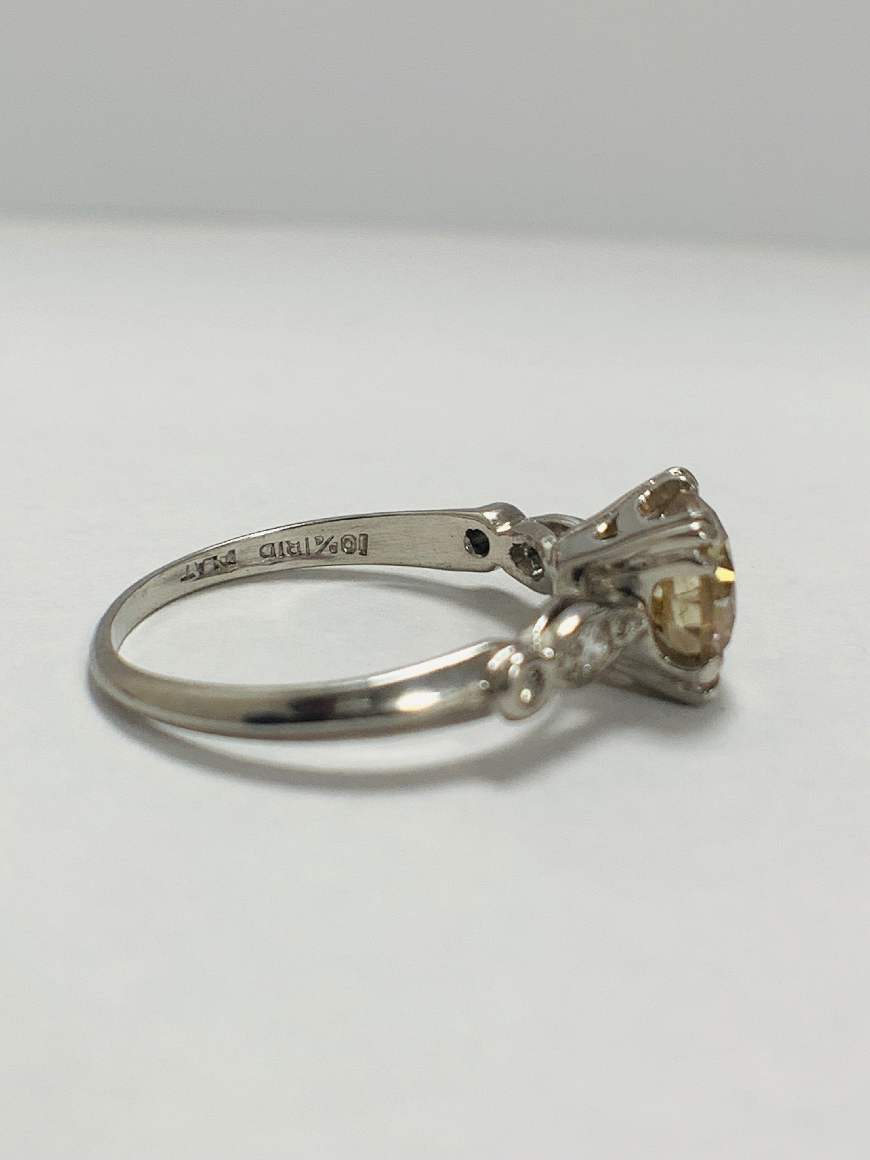 Platinum Diamond ring featuring centre, round brilliant cut, fancy light brown Diamond (1.55ct) - Image 6 of 14