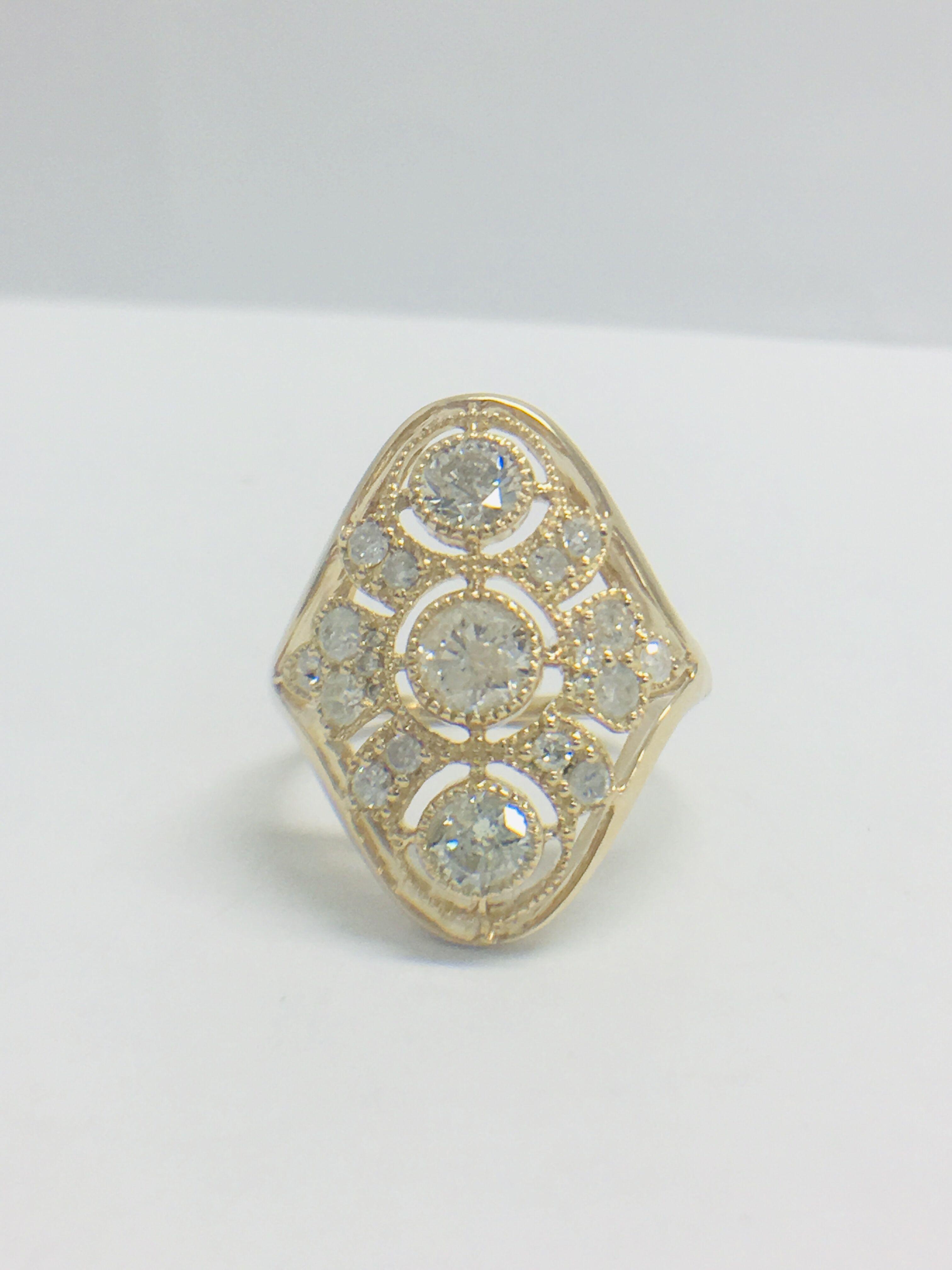 Lot 26 - 14ct Yellow Gold Diamond Ring.